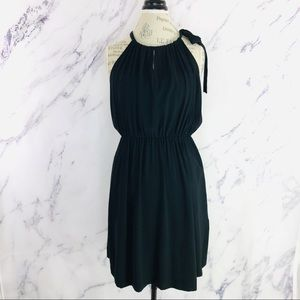 Theory Black Sleeveless High Neck A-Line Dress